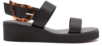 Ancient Greek Sandals Clio Rainbow Leather Wedge Sandals - Womens - Black
