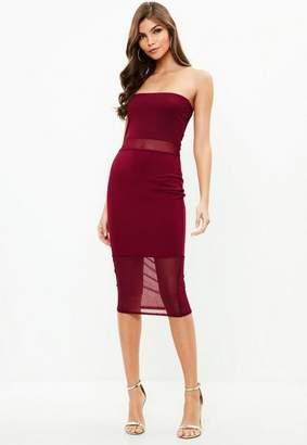 Missguided Burgundy Mesh Panel Midi Dress