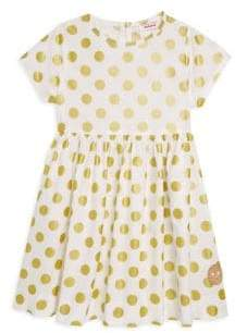 Smiling Button Little Girl's Polka Dot Cotton Sunday Dress