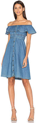 Hilfiger Collection Chambray Short Sleeve Midi Dress.