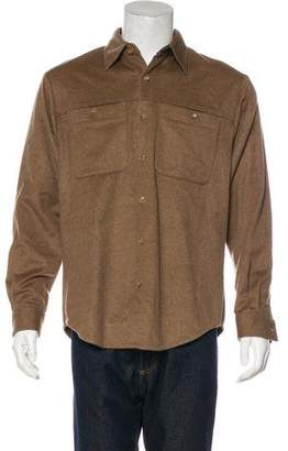 Cirrus Cashmere Leather-Trimmed Cashmere Shirt
