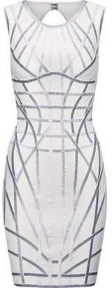 Herve Leger Cutout Metallic Bandage Mini Dress