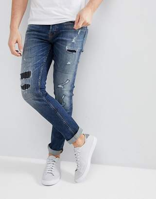 ONLY & SONS Slim Jeans With Repair Work