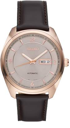 Seiko Men's Recraft Leather Automatic Watch - SNKN72