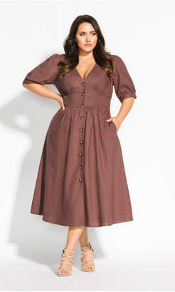 City Chic Citychic Sunset Stroll Dress - nutmeg