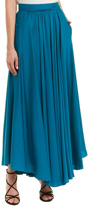 Milly Lou Lou Silk-Blend Maxi Skirt