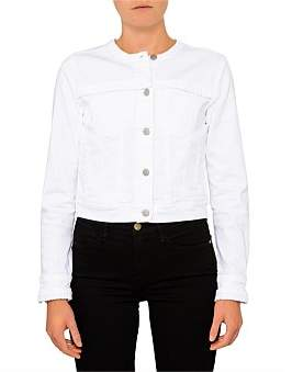 J Brand Harlow Collarless Jacket With Pleat Detail