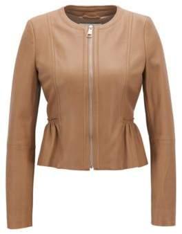 BOSS Hugo Peplum jacket in lambskin nappa leather 0 Beige