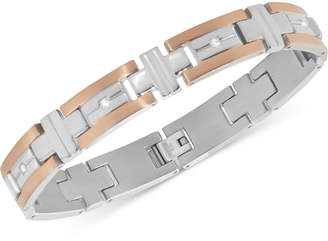 Macy's Men's Diamond Two-Tone Bracelet (1/10 ct. t.w.) in Stainless Steel and Rose Gold Color Ion-Plated Stainless Steel