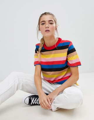Daisy Street relaxed t-shirt in bold rainbow stripe