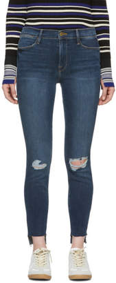 Frame Blue Le High Skinny Raw Stagger Jeans