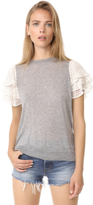 Clu Embroidered Silk Sleeve Top $231 thestylecure.com