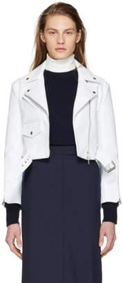 Calvin Klein White Cropped Leather Biker Jacket