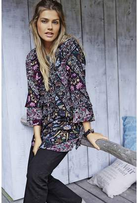 Ulla Popken Printed Crew Neck Tunic with 3/4 Length Sleeves