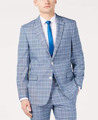 Tommy Hilfiger Men Modern-Fit Light Blue Bold Plaid Suit Jacket