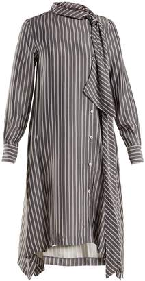 See by Chloe Striped asymmetric crepe midi dress