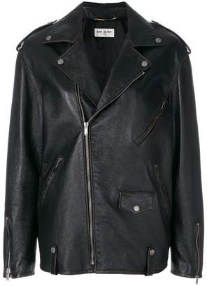 Saint Laurent oversized zipped biker jacket