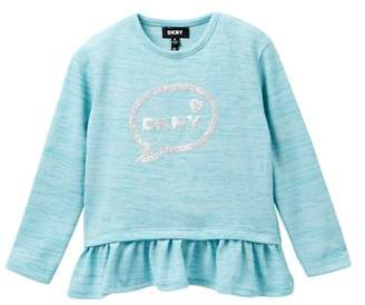 DKNY Bubble Message Top With Ruffles (Little Girls)