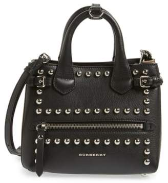Burberry 'Baby Banner' Studded Leather Satchel