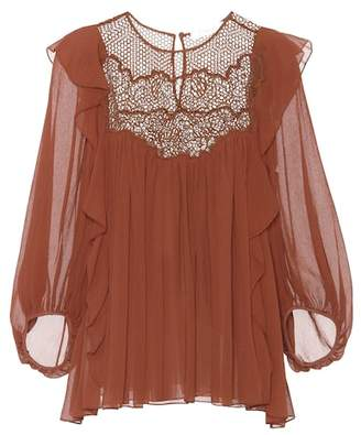 Chloé Lace-panelled silk blouse