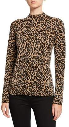 Neiman Marcus Leopard-Print Cashmere Long-Sleeve Mock-Neck Sweater