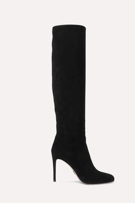 Prada 100 Suede Knee Boots - Black