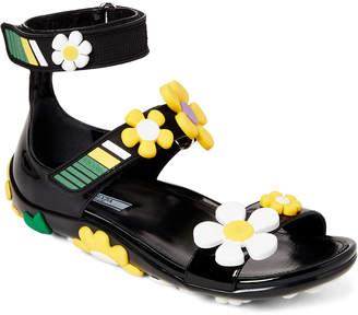 Prada Floral-Applique Leather Sandals
