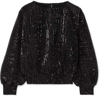 RtA Pippa Sequined Stretch-tulle Top - Black