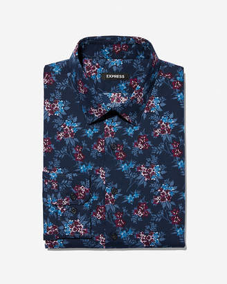 Express Extra Slim Blue Floral Dress Shirt