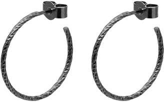 Myia Bonner Black Medium Diamond Hoop Earrings