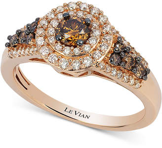 LeVian Le Vian Chocolatier Chocolate Diamond and White Diamond Halo Ring (3/4 ct. t.w.) in 14k Rose Gold