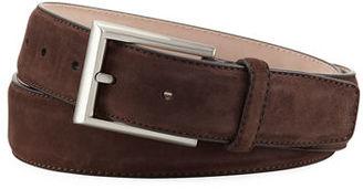Magnanni for Neiman Marcus Suede Rectangular-Buckle Belt $175 thestylecure.com