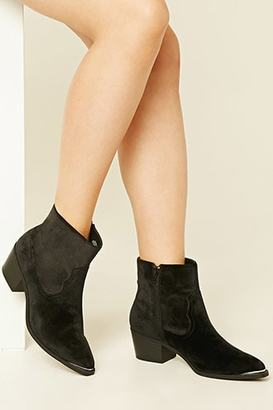 FOREVER 21+ Velvet Ankle Booties $39.90 thestylecure.com