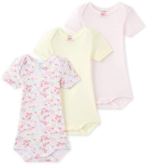 Set of 3 baby girls short-sleeved bodysuits