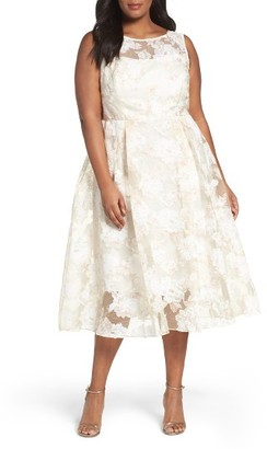 Plus Size Women's Adrianna Papell Floral Organza Midi Dress $180 thestylecure.com