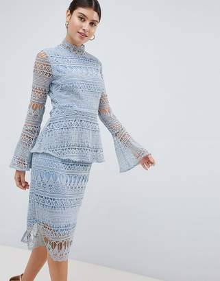 PrettyLittleThing Lace Bell Sleeve Midi Dress
