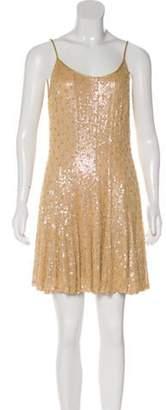 Carmen Marc Valvo Embellished Silk Dress w/ Tags Tan Embellished Silk Dress w/ Tags