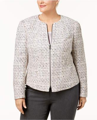 Anne Klein Plus Size Collarless Zip-Front Tweed Blazer