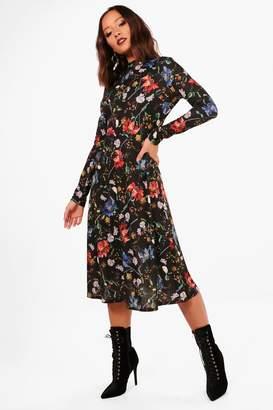 boohoo Ariella Floral Print Long Sleeve Skater Dress