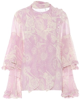 Chloé Cotton and silk ruffled blouse