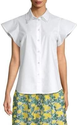 Draper James Flutter Sleeve Button-Up Shirt