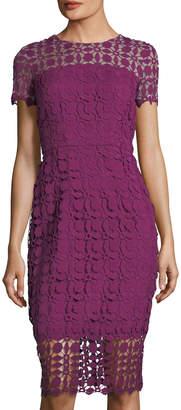 London Times Petal-Lace Short-Sleeve Sheath Dress