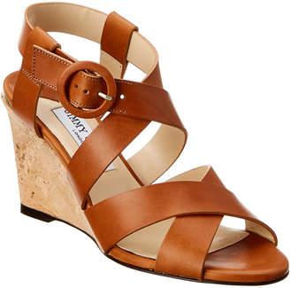 Jimmy Choo Domenique 85 Leather Wedge Sandal