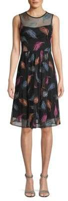 Calvin Klein Floral-Print Sleeves Shift Dress