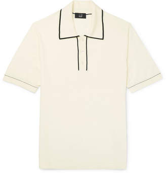 Dunhill Contrast-Tipped Cotton Polo Shirt - White