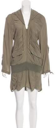 Sass & Bide Ruche-Accented Hooded Dress