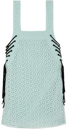 Marysia Swim Waikiki Lace-up Broderie Anglaise Cotton Mini Dress - Sky blue