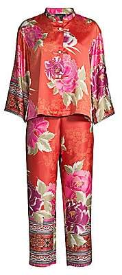 Natori Women's Auburn/Mulberry Purple Fusion Mandarin Two-Piece Pajama Set