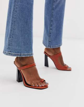 Barely There Asos Design ASOS DESIGN Hydrate toe loop heeled sandals