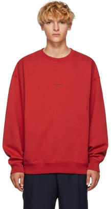 Acne Studios Red Distressed Logo Sweatshirt